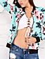 Damen Druck Retro Boho Street Schick Festtage Ausgehen Lässig/Alltäglich Jacke,V-Ausschnitt Frühling Herbst Lange Ärmel Standard Polyester