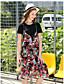 Damen Swing Kleid-Lässig/Alltäglich Einfach Druck Rundhalsausschnitt Knielang Kurzarm Kunstseide Sommer Mittlere Hüfthöhe Mikro-elastisch