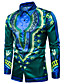 cheap Men's Shirts-Men's Boho Cotton Slim Shirt - Tribal Print Classic Collar / Long Sleeve