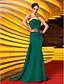 preiswerte Abendkleider-Trompete / Meerjungfrau Trägerlos Pinsel Schleppe Jersey Formeller Abend / Militär Ball Kleid mit Perlenstickerei Gerafft Überkreuzte