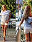 Casual/hétköznapi Szabadság Szexi Utcai sikk Félvállas-Női Póló,Csíkos Nyári Őszi Rövid ujjú Poliészter Közepes vastagságú