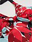 رخيصةأون ملابس السباحة والبيكيني 2017 للنساء-M L XL طباعة النباتات, ملابس السباحة ثلاثة قطع قطعة واحدة أحمر قبة مرتفعة حول الرقبة رياضي نسائي