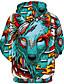 お買い得  メンズフーディー&スウェットシャツ-男性用 ベーシック / 誇張された プラスサイズ ルーズ パンツ - 3D / カートゥン オオカミ, プリント グリーン / フード付き / 長袖 / 秋