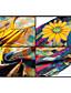 abordables Robes Imprimées-Femme Sortie Mi-long Mousseline de Soie Robe - Imprimé, Fleur Col en V Eté Rouge Jaune XL XXL XXXL Demi Manches / Ample