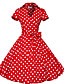 cheap Historical & Vintage Costumes-Audrey Hepburn Polka Dots Retro / Vintage 1950s Costume Women's Dress Black / Red / Brown Vintage Cosplay Half Sleeve Knee Length