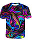 Χαμηλού Κόστους Ανδρικά μπλουζάκια και φανελάκια-Ανδρικά T-shirt Βαμβάκι 3D / Ουράνιο Τόξο Στρογγυλή Λαιμόκοψη Στάμπα Ουράνιο Τόξο US42 / Καλοκαίρι