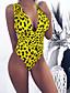 halpa Yksiosaiset uima-asut-Naisten Rubiini Punastuvan vaaleanpunainen Keltainen Yksiosainen Uima-asut - Leopardi M L XL Rubiini