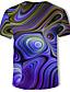 billige T-shirts og undertrøjer til herrer-Rund hals Herre - Farveblok / 3D Bomuld, Trykt mønster T-shirt Lilla XL