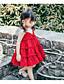 abordables Robes pour Filles-Bébé Fille Actif / Doux Couleur Pleine Sans Manches Au dessus du genou Coton Robe Rouge