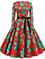hesapli Vintage Kraliçesi-Kadın's Temel Çin Stili A Şekilli Çan Elbise - Zıt Renkli, Desen Diz-boyu