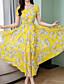 hesapli Print Dresses-Kadın's Zarif Çan Elbise - Çiçekli Maksi