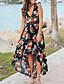 hesapli Maksi Elbiseler-Kadın's Sokak Şıklığı A Şekilli Elbise - Çiçekli, Dantel Kırk Yama Asimetrik