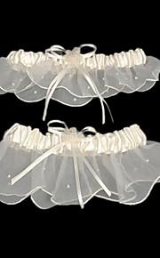 Mousseline de soie Satin Classique Jarretière de mariage  -  Billes Ruban Jarretières