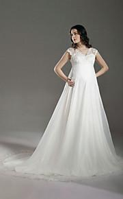 06bb7addbd73 A-Linie Do V Velmi dlouhá vlečka Krajka   Organza Svatební šaty vyrobené na  míru