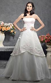 Trapèze Princesse Bretelles Fines Longueur Sol Satin Tulle Robes de mariée personnalisées avec par LAN TING BRIDE®