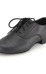 Men's Modern Shoes / Ballroom Shoes Leather Oxford Lace-up Low Heel Non Customizable Dance Shoes Black