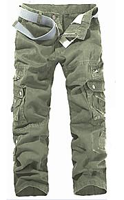 สำหรับผู้ชาย Military ฝ้าย หลวม / เพรียวบาง / กางเกง Chinos กางเกง - สีพื้น เทาเข้ม / สุดสัปดาห์