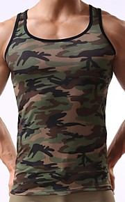 Men's Sports Active Slim Tank Top - Camo / Camouflage Print Army Green L / Sleeveless / Summer