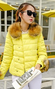 Yalun®New Fashion Women'S Raccoon Fur Collar Slim Down Jacket