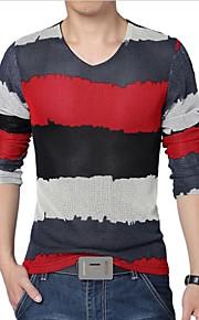 Ανδρικά Μεγάλα Μεγέθη T-shirt Αθλητικά Συνδυασμός Χρωμάτων Λαιμόκοψη V Στάμπα Κόκκινο XXXL / Μακρυμάνικο