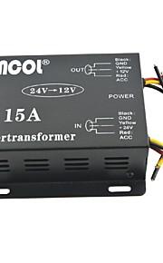 Xincol® Vehicle Car DC 24V to 12V 15A Power Supply Transformer Converter-Black