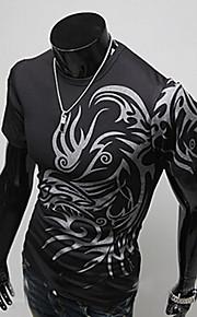 Ανδρικά Καθημερινό / Γραφείο Μείγμα Βαμβακιού Με Τύπωμα Κοντομάνικο T-shirt-Μαύρο / Λευκό