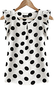 Women's Plus Size Butterfly Sleeves Blouse - Polka Dot Ruffle / Summer / Ruffles and Frills