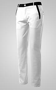 สำหรับผู้ชาย พื้นฐาน ฝ้าย เพรียวบาง สูท / ตรง / กางเกง Chinos กางเกง - สีพื้น ขาว / ฤดูใบไม้ผลิ / ทำงาน / สุดสัปดาห์