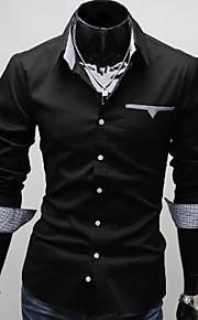 Муж. Офис Большие размеры - Рубашка Хлопок Тонкие Деловые Однотонный Белый XL / Длинный рукав / Весна / Осень