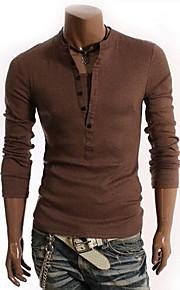 Ανδρικά Μεγάλα Μεγέθη T-shirt Μονόχρωμο Πράσινο Χακί XL / Μακρυμάνικο