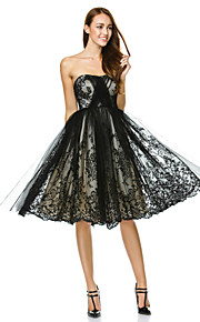 A-Line Fit & Flare Strapless Knee Length Tulle Cocktail Party / Prom / Company Party Dress with Lace by TS Couture®
