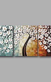 Håndmalte Blomstret/Botanisk Horisontell panoramautsikt, Moderne Hang malte oljemaleri Hjem Dekor Tre Paneler