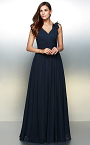 A-Line V Neck Floor Length Chiffon Formal Evening Dress with Flower by TS Couture®