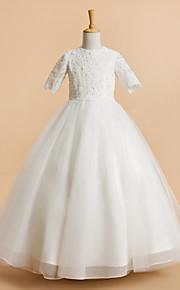 A-vonalú Tea-hossz Virágoslány ruha - Tüll Rövid ujjú Ékszer val vel Csipke által LAN TING BRIDE®