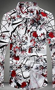 男性用 プリント プラスサイズ シャツ レギュラーカラー スリム フラワー コットン / 長袖