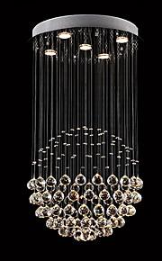 5 lumières Cristal Lustre Lumière dirigée vers le bas - Cristal, LED, 110-120V / 220-240V, Blanc Crème / Blanc Neige, Ampoule incluse