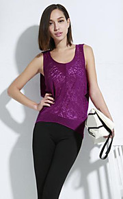 Women's Casual/Daily Sexy Spring / Summer / Fall T-shirt,Solid Sleeveless Purple Cotton / Polyester Thin