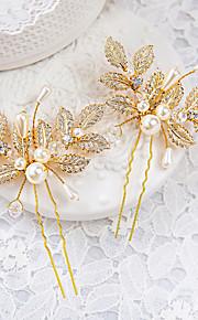 Napodobenina perel Štras Slitina Doplňky do vlasů Sponka do vlasů with Květiny 1ks Svatební Zvláštní příležitosti Přílba
