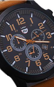 남성용 손목 시계 석영 가죽 블랙 / 브라운 / 그린 방수 달력 멋진 아날로그 커피 브라운 그린 1 년 배터리 수명