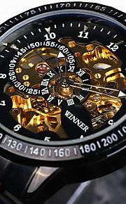 WINNER 남성용 스켈레톤 시계 손목 시계 기계식 시계 오토메틱 셀프-윈딩 스테인레스 스틸 블랙 / 실버 30 m 방수 중공 판화 야광의 아날로그 사치 빈티지 - 블랙 골드 / 블랙 실버 / 블랙 / 타키 미터