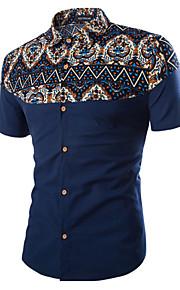 رجالي قطن قميص قياس كبير ياقة كلاسيكية طباعة أسود XXL / كم قصير / الصيف