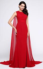 A sirena Con decorazione gioiello Strascico Watteau Chiffon Serata formale Vestito con Con ruche di TS Couture®