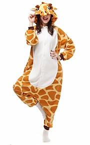 Kigurumi Pajamas Giraffe Onesie Pajamas Costume Polar Fleece Orange Cosplay For Adults' Animal Sleepwear Cartoon Halloween Festival /