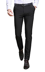 Hombre Delgado Traje / Delgado / Empresa Pantalones - Un Color Negro / Trabajo