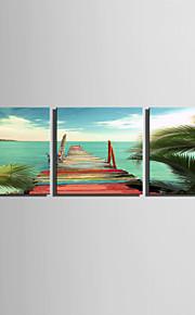 Landskap Tre paneler Fyrkantig Tryck väggdekor Hem-dekoration