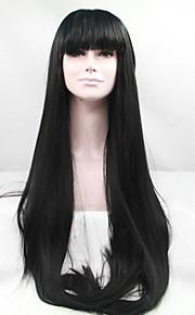 Syntetisk blonder foran parykker Rett Med lugg Svart Dame Blonde Forside Naturlig parykk Syntetisk hår