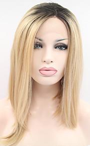 Syntetisk blonder foran parykker Rett Bobfrisyre Bob med midtskill Blond Dame Blonde Forside Naturlig parykk Syntetisk hår