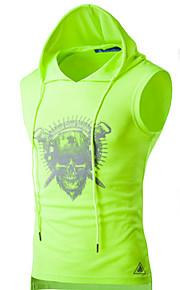 Hombre Activo Deportes Estampado - Algodón Camiseta, Con Capucha Un Color Negro L / Sin Mangas / Verano