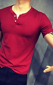男性用 プラスサイズ Tシャツ 活発的 ラウンドネック スリム ソリッド コットン / 半袖