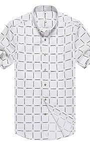 رجالي قميص ياقة كلاسيكية - الأعمال التجارية طباعة منقوش, عمل أبيض L / كم قصير / الصيف